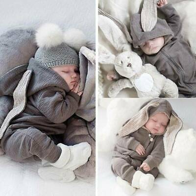 Newborn Baby Boy Girl Kids Rabbit Hooded Romper Jumpsuit Clothes Outfit Winter