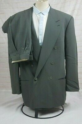 Giorgio Armani Mens Double Breasted Suit Green Wool Nylon Vtg Italy Size 42L 33W