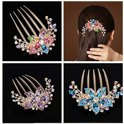 Elegant Womens Rhinestone Inlaid Flower Hair Comb Hairpin Headwear Accessory