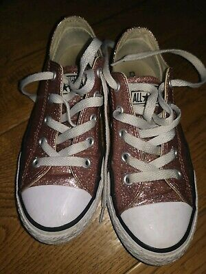 Girls Rose Gold Glitter Converse Trainers All Stars Size 13