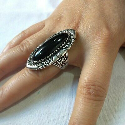 Ancient Victorian Sterling Silver RING Rare Beautiful Onyx Stone vintage Retro