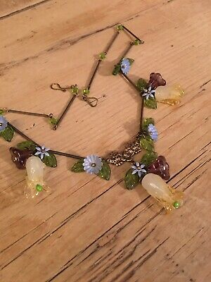 art deco Bohemian Vintage Style Glass Lampwork Flower bead Necklace