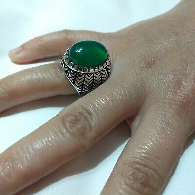 Ancient Victorian Silver Ring Beautiful Red Jade Stone Rare Retro Old vintage