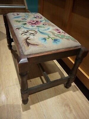 Vintage long footstool with tapestry insert 72x38x35cm