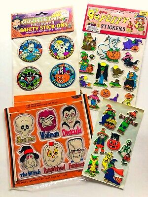 Vintage Halloween Puffy Sticker Lot! Monster Holiday Witch Ghost Collector Kids
