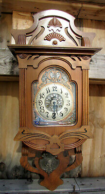 Antique German Wall Clock  Junghans - Jugend Style - 1910s.