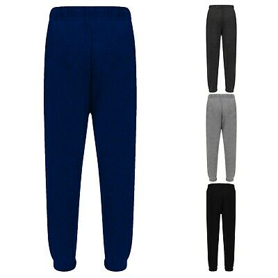Boys Kids Plain Basic PE School Jogging Sports Tracksuit Bottoms Fleece Joggers