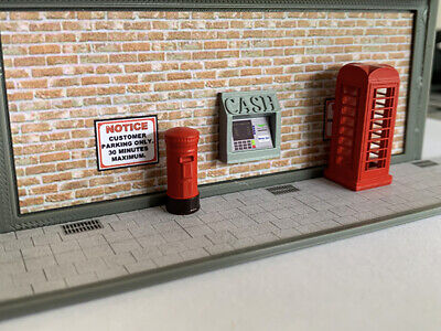 OO Scale Post Box Letterbox and Telephone Box 2 of each