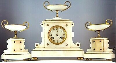"""Louis XVI"" French mantel clock with two vases C.A. 1865 pendulum chime"
