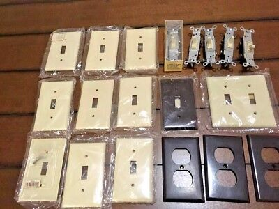 Vintage 19 Piece Lot Light Switch & Outlet Covers w/ Screws 5 switches new/used