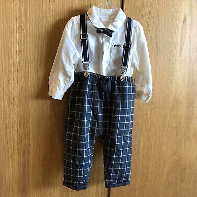 Next Baby Boy 9-12 Months Outfit Set Shirt Bow Tie And Trousers With Braces