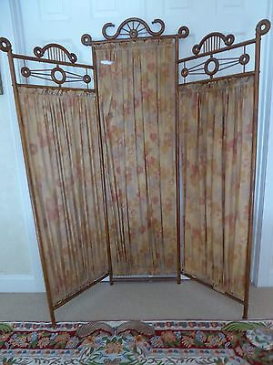 Antique Victorian Vintage Oak Dressing Screen / Room Divider / Tri Fold   C1890