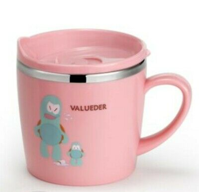 Baby Kids Toddler Mug Straw Sippy Cup with Lid for Milk, Water, Hot Choc, Pink