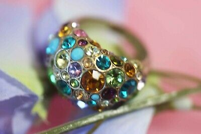 FOSSIL Signed Rhinestone Fruit Salad Rainbow Ring Size 7 Bright Vintage Colorful
