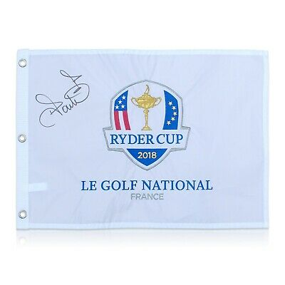 Ian Poulter Signed 2018 Ryder Cup Pin Flag | Autographed Memorabilia