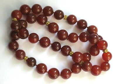 Antique Chinese Hand-Knotted CARNELIAN Bead Necklace With 18KT Gold