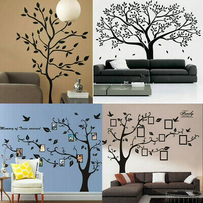 Black Family Tree Sticker Wall Decals Removable Vinyl Mural Art DIY Home Decor