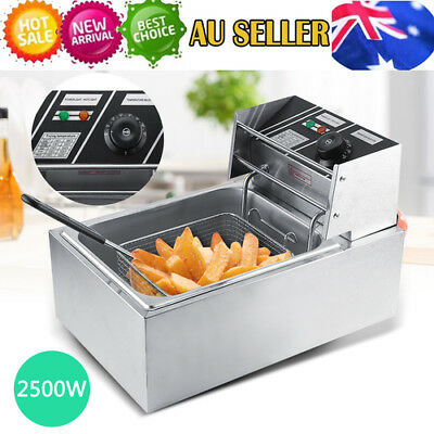 Electric Deep Fryer - 6L Commercial Fry Frying Chip Cooker Basket Home 2500W