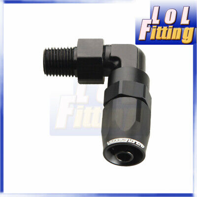 """Aluminum AN6 AN-6 To 1/4"""" NPT 90 Degree Swivel Hose End Fitting Adapter Black"""