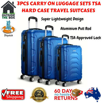 Luggage TSA Hard Case 3pc Lightweight Travel Sets Wanderlite Organiser Suitcase