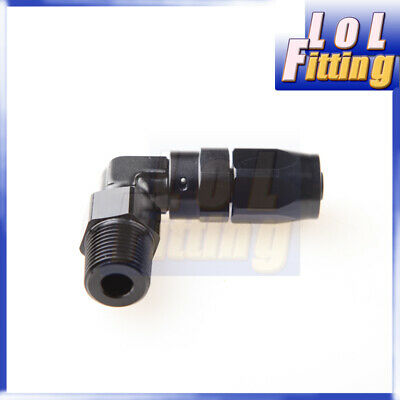 """Aluminum AN8 AN-8 to 1/4"""" NPT 90 Degree Swivel Hose End Fitting Adapter Black"""