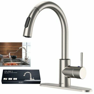 Brushed Nickel Kitchen Sink Faucet Pull Down Sprayer Mixer Tap Single Handle