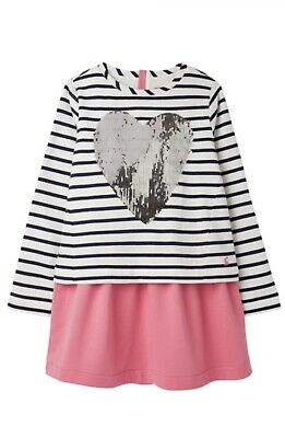 Joules Girls Lucy Layered Sweater Dress Navy Cream Stripe Age 3 Years BNWT NEW