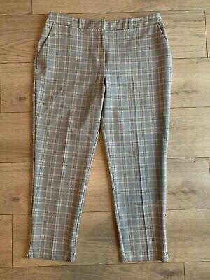 DOROTHY PERKINS Grey Yellow Plaid Slim Fit Mid Rise Chino Trousers Size 14 VGC
