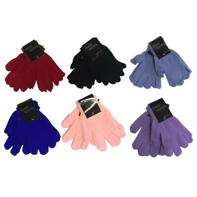 LADIES GIRLS MAGIC STRETCH GLOVES PLAIN ASSORTED 6 COLOURS Pack of 12 PAIRS