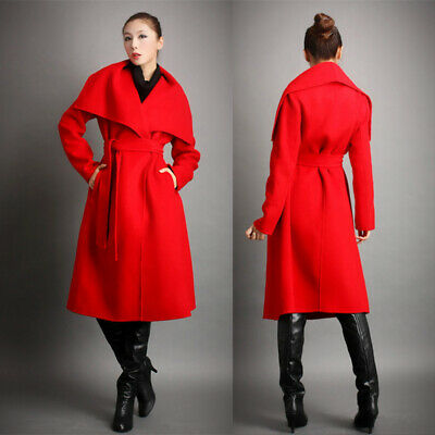 Women Golilla Cashmere Wool Trench Coat High-end Business Windbreaker Long Parka