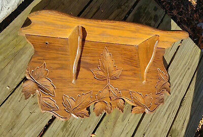 Antique Vintage Victorian Oak Clock Wall Shelf w/ Carved Leaves