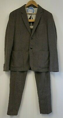 "Stile Benetton Grey Herringbone 2 Piece Suit 40""Chest/36""Waist"