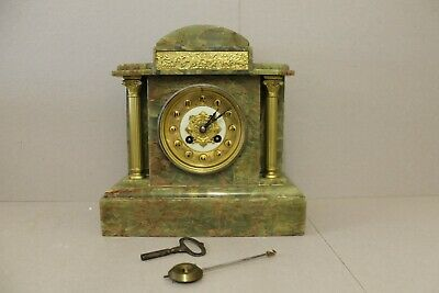 French Green Onyx Mantle Clock