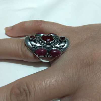 Ancient RING SILVER Antique Victorian Agate Stone Rare Old vintage