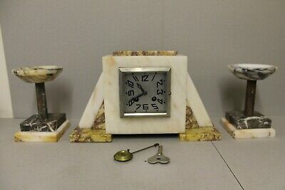 Art Deco Marble French Mantle Clock