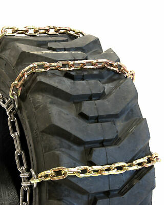 Titan Alloy Square Link Tire Chains 4 Link Space Skid Steer 8mm 27x10.50-15