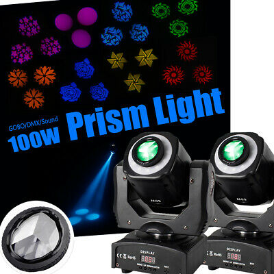 2PCS 100W RGB Prism Stage SPOT Gobo LED Moving Head DMX Disco DJ Party Lighting