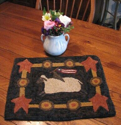 Primitive Hooked Rug Pattern On Linen ~ Sheep Rides