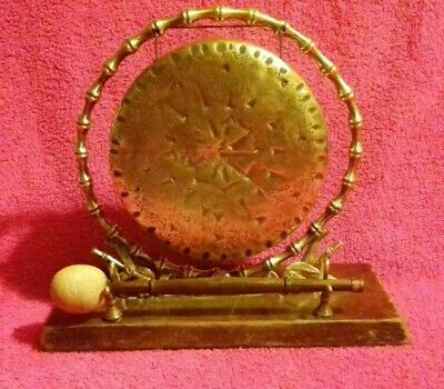 """Antique Victorian Edwardian Brass Table Dinner Gong Bamboo Chinoiserie 15cm 6"""""""