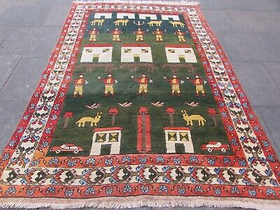 Vintage Traditional Hand Made Turkish Oriental Wool Green Red Carpet 260x180cm