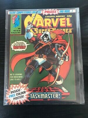Marvel Super Heroes 391 Taskmaster Cover With Poster VF Rare UK Foreign Comic