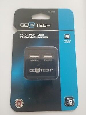 Commercial Electric 3.4 Amp 2-Port ABS Square AC Charger Black FREE SHIPPING NEW