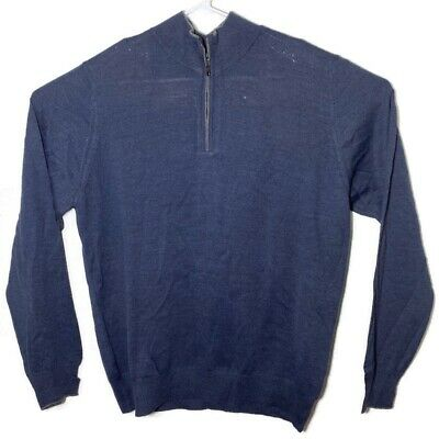 Neiman Marcus Mens XL Blue Long Sleeve Pullover Sweater Shirt Top Made In Italy