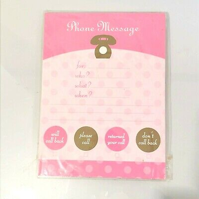 Studio 18 Magnetic Phone Messages Pad With Tear Off Sheets - Pink