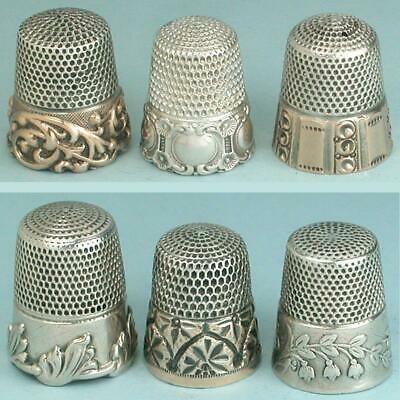 6 Antique American Sterling Silver Thimbles * 19th Century