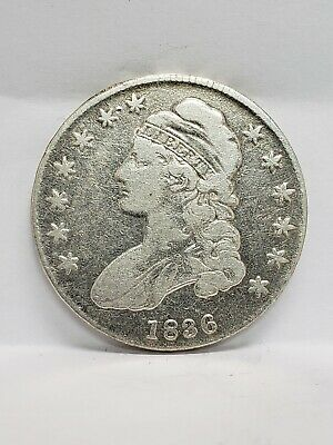 1836 Capped Bust Silver Half Dollar, Early Date 50C coin