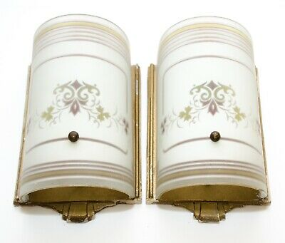 Pair Antique Art Deco Mid Century Wall Sconce Sconces Floral Frosted Shade