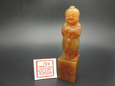 Hand-carved Chinese Shoushan Stone Seal Chop Stamp Seal Signet Figure Statue