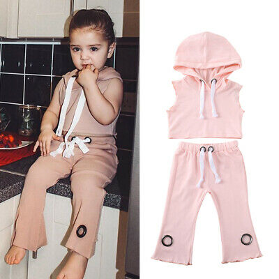 Kids Baby Girl Sleeveless Hooded Tops Pants Leggings Outfits Tracksuit Clothes