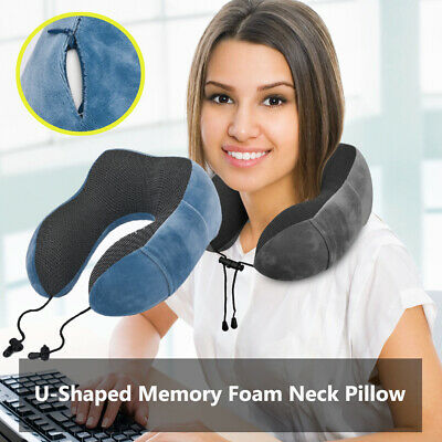 Travel Pillow Portable Memory Foam Neck Pillow for Airplane Traveling Sleeping